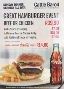 Great Hamburger from Cattle Baron Umhlanga