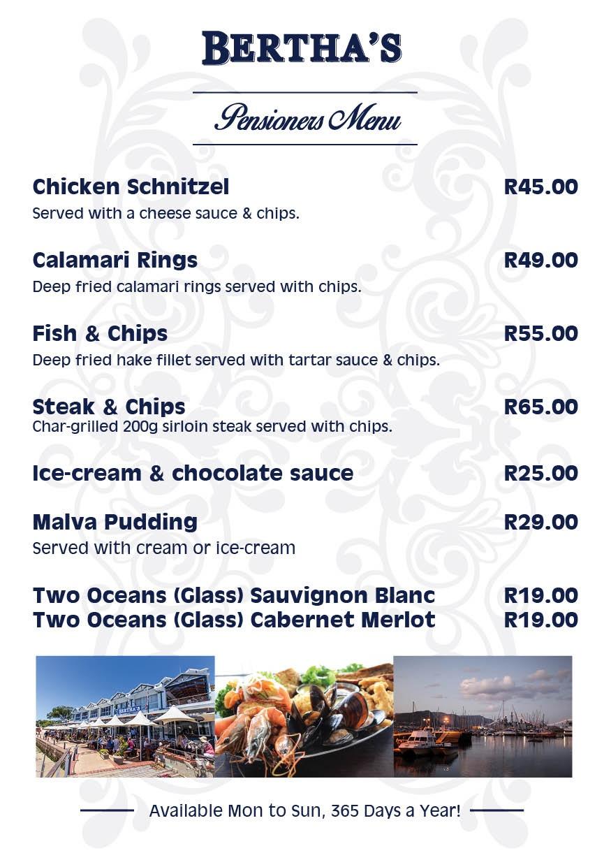 Pensioners menu at Berthas Restaurant