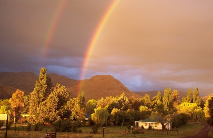Beautiful rainbow over Walkerbouts Country Retreat & Pub