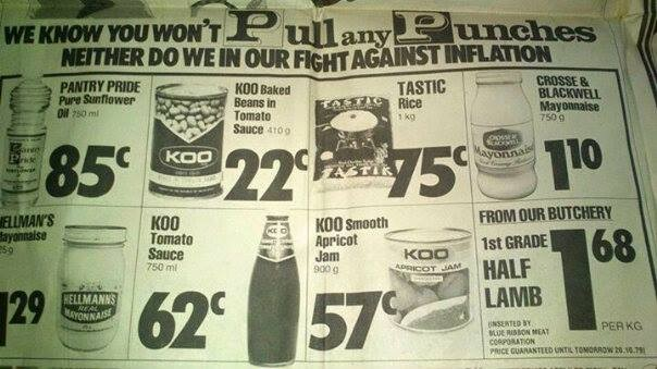 Newspaper cutting of food items