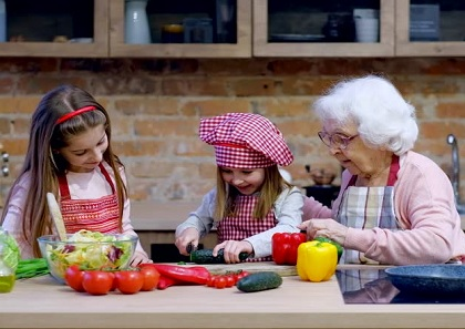 granny cooking with grandchildren - 420
