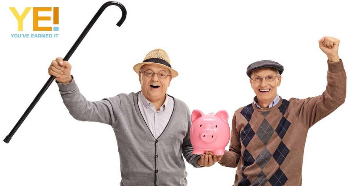 Two senior men - piggy bank