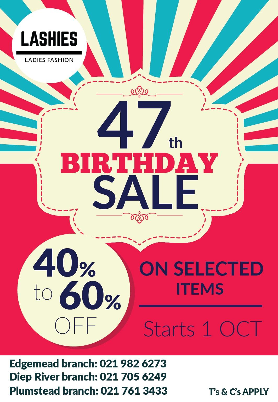 Lashies 47th birthday sale