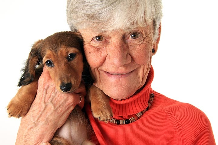 senior and dog therapy