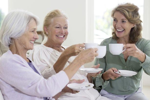 senior ladies having coffee