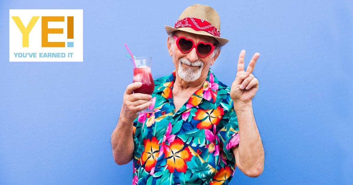 senior man celebrating