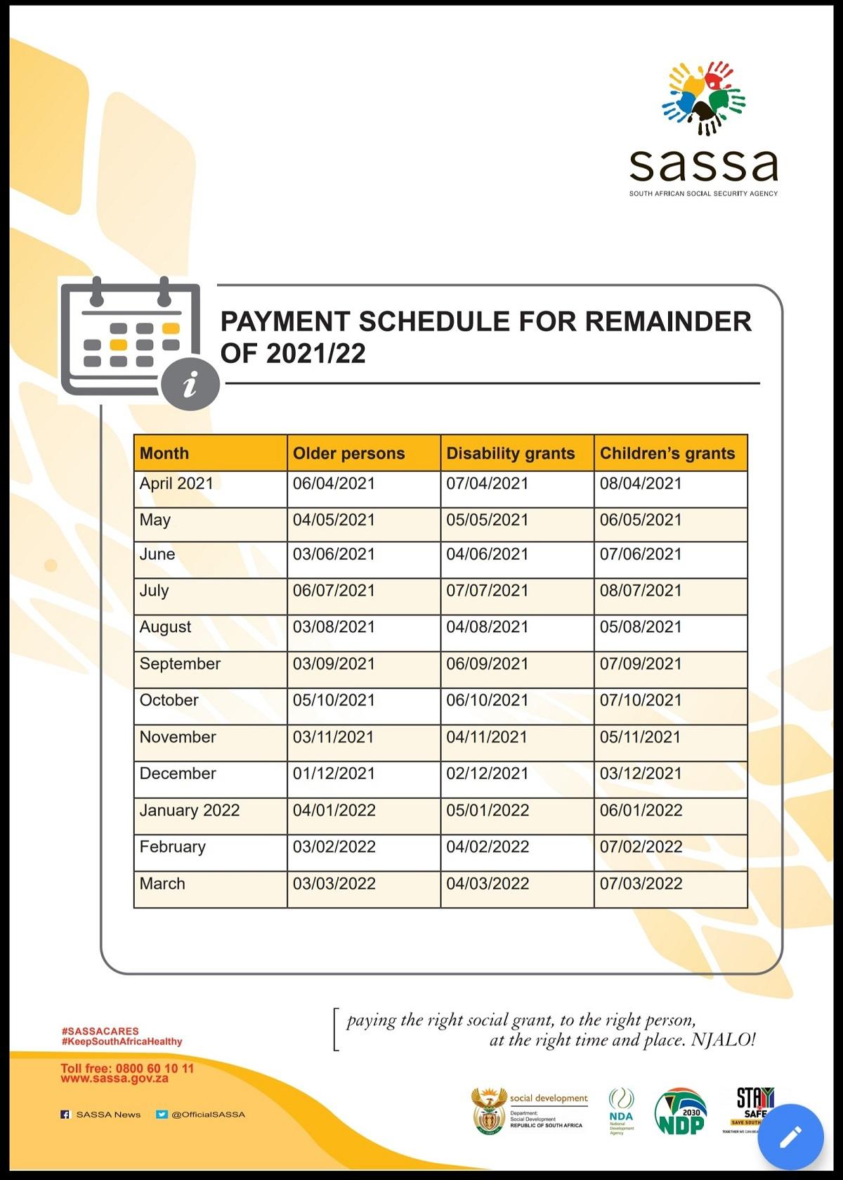 SASSA payment schedule 2021